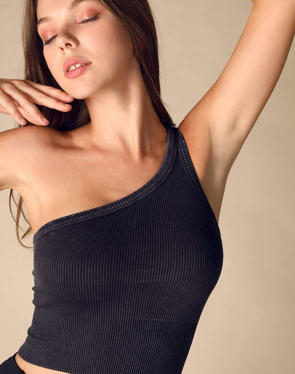 One Shoulder Ribbed Bra (VJ4TS129/BK)